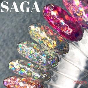 Глиттерный гель Saga Professional Galaxy Glitter 01 прозрачный с голографическими серебристыми глиттерными частичками и сине-бирюзовым переливом, 8 мл