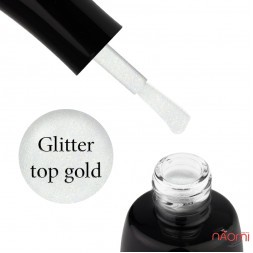 Топ для гель-лака без липкого слоя LUXTON Glitter Top Gold с шиммером, 10 мл