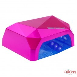 УФ LED + CCFL лампа для гель-лаків і гелю 36W, сенсорна, з таймером 10, 30 і 60 с, колір рожевий