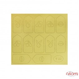 Виниловый трафарет для дизайна Т 022, Кролик, губы, цвет золото
