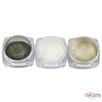 Зеркальная пудра для втирки, цвет серебро, серебро с голограммой, единорог, 3 шт., 0,1 г