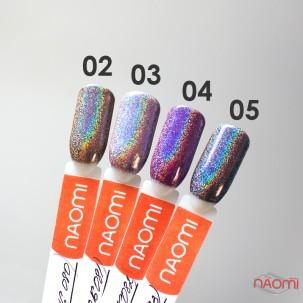Зеркальная пудра для втирки голографическая Naomi 03, цвет фиолетовый, 1 г