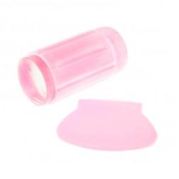 Односторонний силиконовый штамп и скрапер для стемпинга, цвет розовый