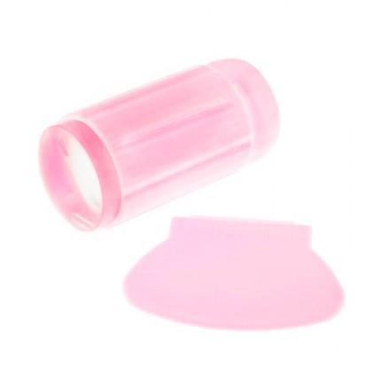 Односторонний силиконовый штамп и скрапер для стемпинга, цвет розовый, фото 1, 59.00 грн.