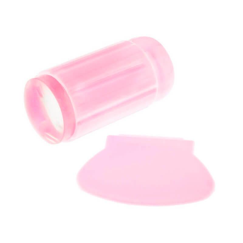 Односторонний силиконовый штамп и скрапер для стемпинга, цвет розовый, фото 1, 49.00 грн.