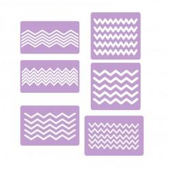 Трафареты-наклейки для nail-art Зигзаги №3, в наборе 3 листа по 6 видов