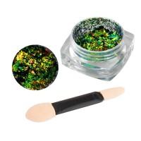 Зеркальная втирка Юки Starlet Professional 020, северное сияние, цвет зеленый, 0,2 г