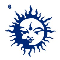 Трафарет для временного тату Солнце 006, 6х6 см