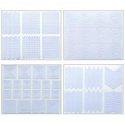Трафареты-наклейки для nail-art зигзаги, фигуры, в наборе 12 листов 9х7,5 см